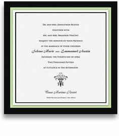 225 Square Wedding Invitations - Monogram Mint Olive Crown by WeddingPaperMasters.com. $573.75. Now you can have it all! We have created, at incredible prices & outstanding quality, more than 300 gorgeous collections consisting of over 6000 beautiful pieces that are perfectly coordinated together to capture your vision without compromise. No more mixing and matching or having to compromise your look. We can provide you with one piece or an entire collection in...