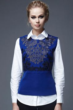 Shop Embroidered Blue Vest And White Shirt at ROMWE, discover more fashion styles online. Classic White Shirt, Blue Vests, Good Looking Women, Quirky Fashion, Shirt Blouses, Shirts, Romwe, Blouses For Women, Stylish