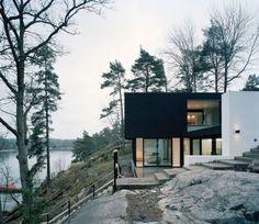lakeside + rock + slope + black + white