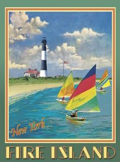 Fire Island Lighthouse-Art Deco Style Vintage Travel Poster-by Aurelio Grisanty Vintage Beach Posters, Vintage Beach Signs, Art Deco Posters, Poster Prints, Fire Island, Long Island, Lighthouse Art, Lighthouse Photos, Tourism Poster