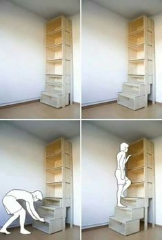 Bookcase floor to ceiling stairs built in... genius!