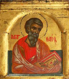 Saint Matthew the Evangelist, Northern Greece, circa 1550 Isaiah 25, Saint Matthew, Orthodox Icons, Christian Art, Fresco, Christianity, Catholic, Saints, It Cast