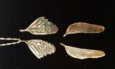 These #Fairy Wing #pendants were lovingly #handcarved by #Tara Shelton and cast into #sterling silver. Price $145(longer shaped) to $165(wider-shaped)CDN each. See more of #artisan Tara Shelton's #jewelry #jewellery at #ArtisansAtWork/ #AAWGallery www.aawgallery.com and www.tarashelton.com Sansa, Hand Carved, Insects, Wings, Artisan, Fairy, Creatures, It Cast, Carving
