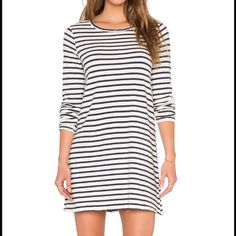 Striped Dress Navy and Cream Striped Dress. Long sleeved. Lightweight. Never worn!!! Brand new (no tags). 100% cotton. Great with a jean jacket! CP Shades Dresses