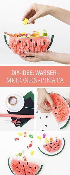 DIY-Anleitung: Melonen-Pinata für den nächsten Kindergeburtstag basteln, Deko und Partyspiel / DIY tutorial: crafting watermelon pinata for the next children's birthday party, decor and game via DaWanda.com