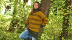 Multicoloredhand-knitted oversized very long thick collar