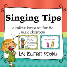 This is a set of 8 singing tips for a music bulletin board. I hang these above my chalk board in my classroom, and they serve as a reminder for my choir students to focus on things such as their posture and breathing while they are singing in rehearsal.