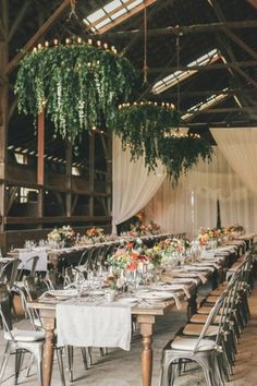 Greenery Wedding Ideas That Are Actually Gorgeous---hanging greenery chandelier wedding reception decorations, rustic barn weddings, country weddings Wedding Reception Seating, Wedding Receptions, Reception Decorations, Wedding Centerpieces, Reception Ideas, Long Wedding Tables, Long Tables, Tent Decorations, Wedding Reception Venues