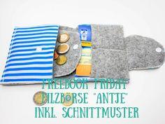 Happy Happy Freebook Friday ;) Heute wollen wir mit dir eine kleine, aber sehr praktische Geldbörse nähen- Filzbörse Antje. Sie ist ruckzuck genäht, ein idealer Resteverwerter, super als kleine Alt…
