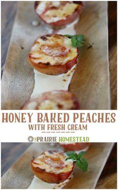 Honey Baked Peaches with Fresh Cream Baked Peach, Honey Baked, Baking Recipes, Whole Food Recipes, Dessert Recipes, Honey Recipes, Healthy Recipes, Baking With Honey, Fruit Dishes