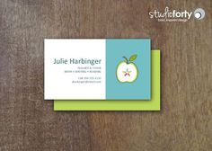 Teacher's Apple Business Cards 50 Printed by studiofortydesign- always wish I had these at conferences!