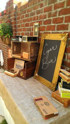 cigar bar idea at July wedding rehearsal dinner at The Inlet Sports Lodge, Murrells Inlet, SC. catering courtesy of Bliss Restaurant & Lounge, decor by East West Vintage Events from Asheville, NC