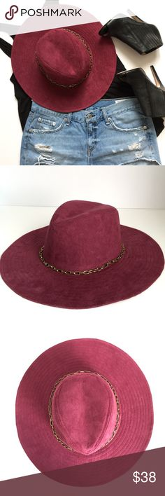 "Far Cry Panama Hat Plain Panama?  Far from it. The play nice hat is made in burgundy vegan suede featuring a wide 4"" brim, indented crown with an antique goldtone chain. Pair this cutie with a tee, cutoffs and booties. 😍 100% polyester faux suede, 24"" hat circumference, 49"" brim circumference. Brand LULU from Nasty Gal. NWOT. Nasty Gal Accessories Hats"
