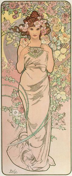 """Les Fleurs - The Rose"" ~ Alphonse Mucha, 1898"