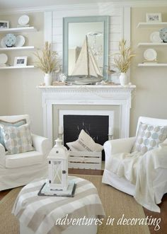Adventures in Decorating Coastal sitting room in neutrals. Love this!
