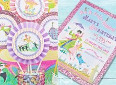 Mary Poppins birthday party invitations and cake/cupcake toppers