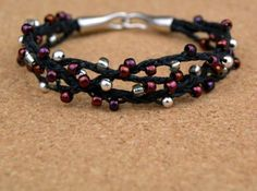 Marsala and Silver Woven Bead Bracelet