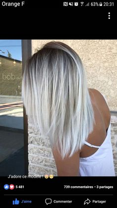 Check out latest article Icy Blonde Hair with Dark Roots Colour Ideas. Explore icy blonde hair balayage dark roots, icy blonde hair dark roots shoulder length, icy blonde hair highlights low lights, i White Blonde Hair, Light Ash Blonde, Icy Blonde, Blonde Roots, Blonde Color, Platinum Blonde Balayage, Ombré Blond, White Ombre Hair, Ombre Colour