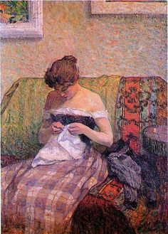 Girl Sewing ~ by Henri Labasque (French, ~ The artist was a French post-impressionist painter. He was born at Champigné (Maine-et-Loire). Impressionist Artists, Impressionism Art, Illustrations, Illustration Art, Sewing Art, Renoir, French Art, Art Plastique, Love Art