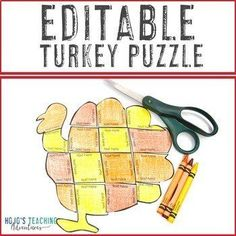 EDITABLE Turkey Craft Activity: Math, ELA, or Other Puzzles for Thanksgiving |  1st, 2nd, 3rd, 4th, 5th, 7th, 8th grade, Activities, English Language Arts, Fun Stuff, Games, Homeschool, Math, Middle School, Thanksgiving Shape Puzzles, Turkey Craft, 21st Century Skills, Critical Thinking Skills, Thanksgiving Activities, Special Education Classroom, Problem And Solution, Literacy Centers, Craft Activities