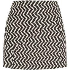 Neil Barrett Zigzag wool-blend mini skirt