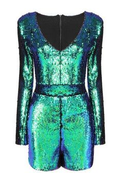 435f0ed4f95 Glam Rock Green Playsuit with Sequin Detail. Sequin Playsuit
