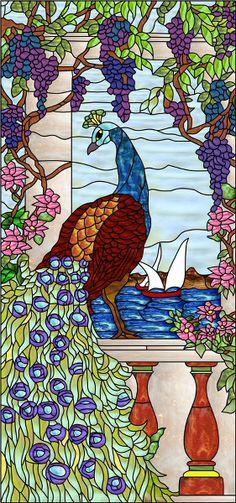 Tiffany Peacock Decorative Window Film