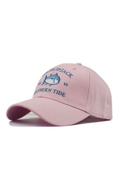 a67015cfdd4 Pink Shark Embroidered Baseball Hat Pink Shark