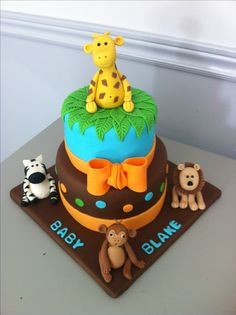 Jungle baby shower cake Baby Shower Cake Designs, Safari Baby Shower Cake, Torta Baby Shower, Baby Shower Cakes For Boys, Angel Baby Shower, Baby Boy Shower, Cupcakes, Cupcake Cakes, Cake Pops