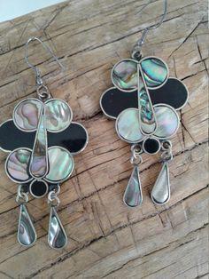 70s Mexican Silver Abalone Shell & Enamel EarringsDangly