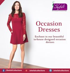 """""""Occasion Dresses"""" Enchant in our beautiful in-house designed occasion dresses !! Call @ 9993339994 #ShefaliCollections #Clothes #Fashion #Brand #Style #Dresses #WesternWear #Kurtas #Tops #Jeans"""