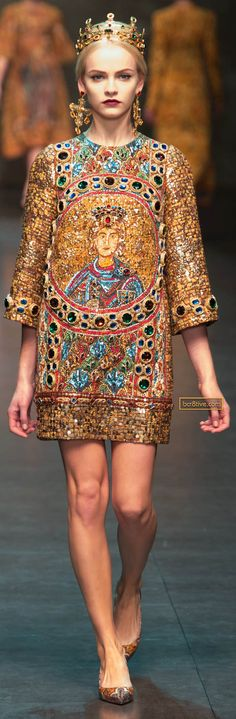 Dolce & Gabbana FW 2013-14 took their inspiration for this collection from the Monreale Cathedral in Sicily. ... It is permeated with religious underpinnings, and all the while very Italian and even more sexy. NO respect.