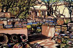 Linocut Print Pot Yard, Tubac, Arizona