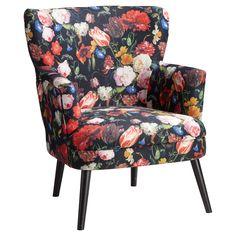 Vrolijke fauteuil met botanische print. 74x75x90 cm (lxbxh). #fauteuil #stoel #kwantumstijl Wingback Chair, Armchair, Accent Chairs, Living Room, Interior Design, Bedroom, Inspiration, Furniture, Home Decor