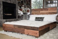 Reclaimed wood industrial platform bed frame, god I love this @Melissa Butcher arts and crafts day, you help me; i'll help you?