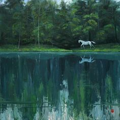 "Saatchi Art Artist Lemon Liu; Painting, ""White horse"" #art"