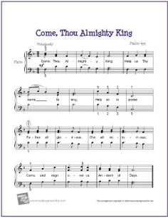 Come, Thou All Mighty King | Free Sheet Music for Easy Piano - http://makingmusicfun.net/htm/f_printit_free_printable_sheet_music/come-thou-almighty-king-piano.htm