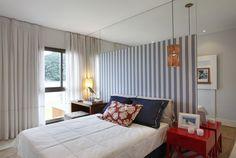 quarto com listras papel de parede para quarto de casal