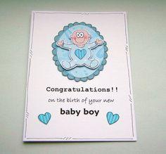 New Baby Boy Congratulations Card  Cuddles  by CraftyMushroomCards, £2.35