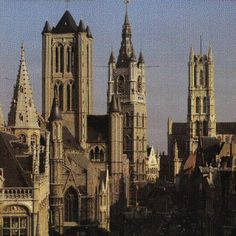 GENT - The 3 Majestic towers of Ghent: the first proud city to conquer her 'proper rights' in the 15th century.