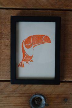 Linogravure Toucan de la boutique OkaNekoShop sur Etsy