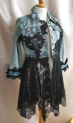 FESTIVAL Boho Upcycled Denim Jacket SIZE 8/10 Hippy Stevie Nicks Fairy Bohemian Lagenlook OOAK Wearable Art Bohemian OOAK Wearable Art. Absolutely beautiful upcycled denim jacket. This coat is gorgeous. It is extremely pretty and it brings a smile to my face. It is embellished with