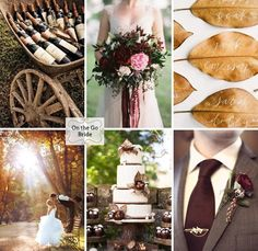 Fall wedding inspiration. Cranberry, brown, and hints of gold