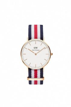 The Classic Canterbury watch is a 36mm timepiece that was designed with great attention to detail featuring rose gold metal parts and a playful and comfortable strap that celebrates classic flag colors. The ultra-thin red, white and blue band will suit your formal and casual outfits with elegance and style.