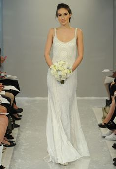 Sheath Wedding Dress : Crystal Sheath Wedding Dress | Theia White Collection Fall 2015 | Blog.theknot.c