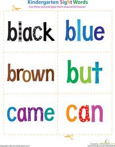 Worksheets: Kindergarten Sight Words: Black to Can