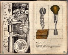 John Vernon Lord: Chameleon, screw and screwdriver. A notebook drawing of 1968.