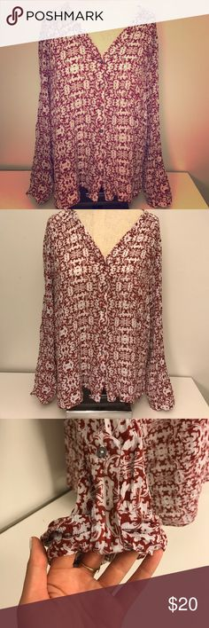 Alythea Bohemian Blouse with Roll Sleeves size L This is a super cute top that buttons up and has one pocket on the front left chest. Very flowing material.  Could be worn for work or a night out. Alythea Tops Button Down Shirts