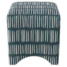 Just as versatile as it is stylish, the Cleo Cube Ottoman from Skyline Furniture will make a welcome addition in your living room, vanity area or home office. A great choice for modern or contemporary spaces, this printed cube ottoman boasts a unique lined pattern in blue and white to instantly elevate your space. The simple silhouette and practical design allow this piece to blend in easily with a variety of decor styles — place it in your living room beside an armchair or sofa for...