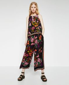 PRINTED LOOSE-FIT TROUSERS-TROUSERS-TRF | ZARA United States